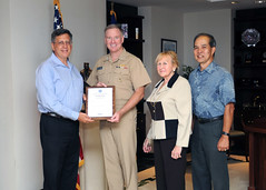 PEARL HARBOR, Hawaii (June 20, 2011) Adm. Patrick M. Walsh, commander of U.S. Pacific Fleet, poses for a photo with Employer Support of the Guard and Reserve representatives Robert