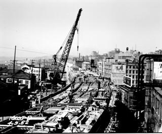 Alaskan Way Viaduct under construction, 1952