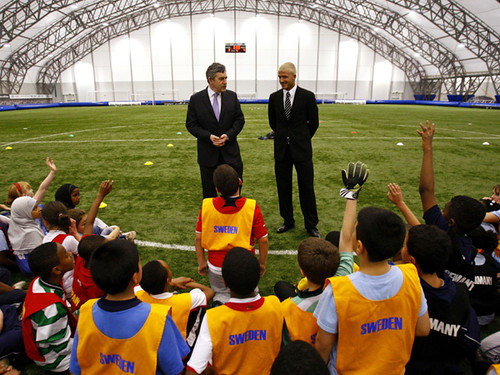 Gordon Brown visits the David Beckham Academy