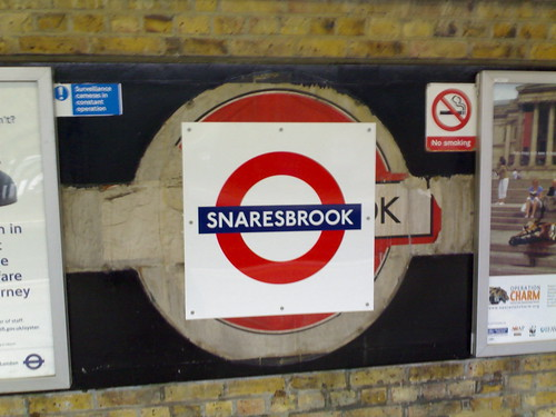 Snaresbrook station, London Underground - roundel by mikeyashworth