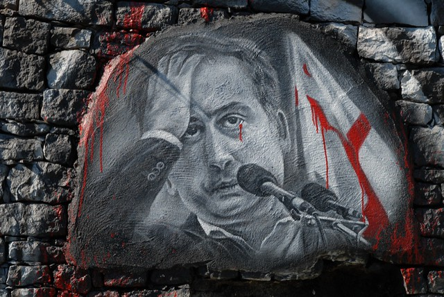 """""""La Révolution des Roses fanées"""" (made in USA) - Mikheil Saakachvili painted portrait DDC_7799.JPG"""