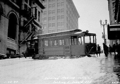 Madison Street cable car derailed in snow, 1929
