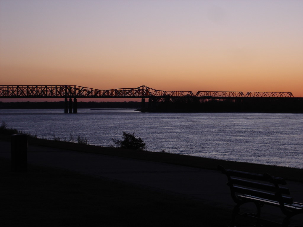 Twilight over the Mississippi in Memphis, Tennessee