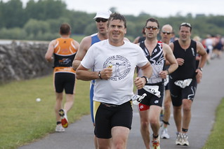 Image of veteran triathletes competing in the Dambuster Triathlon