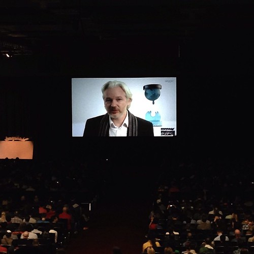 PHOTO: Julian Assange live #sxsw interview by Skype from the Ecuadorian Embassy in London by Geoff Livingston