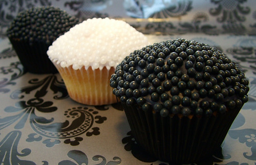 Black Tie Wedding Cupcake Vanilla buttercake base dipped in poured fondant