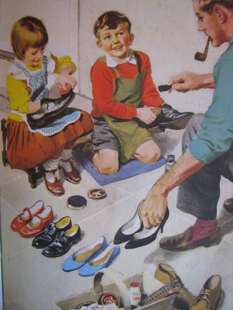 We are helping to clean the shoes