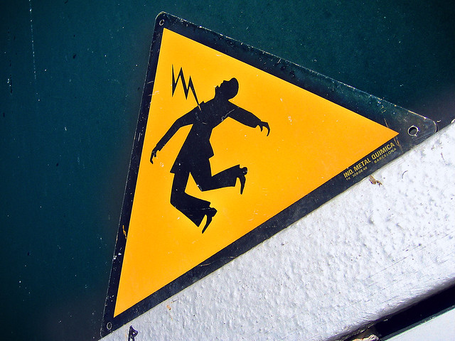 Danger Electric Shock Risk. Sign