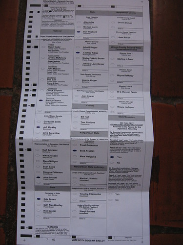 ballot, mainly candidates