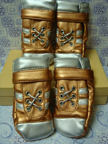 Dog Booties in Copper and Silver Metallic Tone - Large Breed