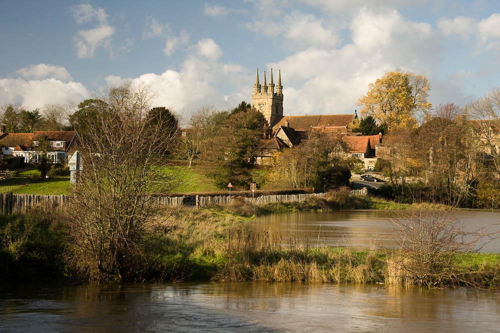 Penshurst the flooded River Medway