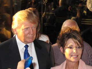 Sarah Palin and Donald Trump together outside Trump Tower last night