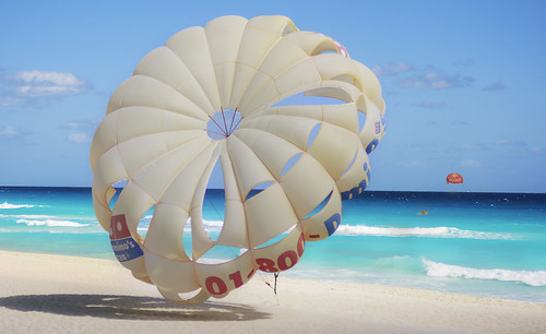 Parasails in Turquoise Sea, Cancun Mexico