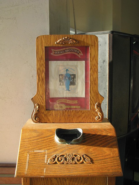 Vintage Penny Arcade Machine Charlie Chaplin Movie
