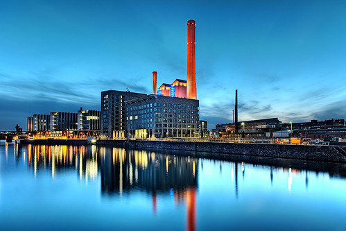 blue light sunset chimney sky plant water clouds port reflections river germany bravo hessen frankfurt main illumination hour heat dri westhafen hesse aplusphoto