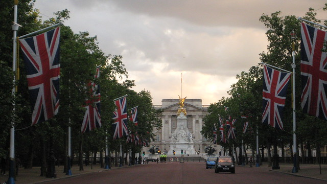 The Mall Draped In The Union Jack Looking Towards Buckingham Palace