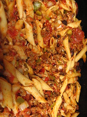 italian food, side dish, penne, dak galbi, food, dish, cuisine,