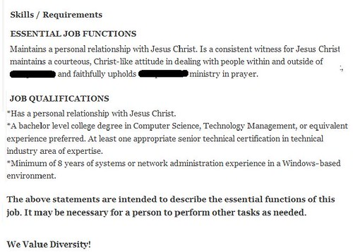 So I'm looking for a job in Info Technology and I come across this...