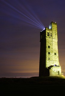 The Tower lit up at Castle Hill, Huddersfield