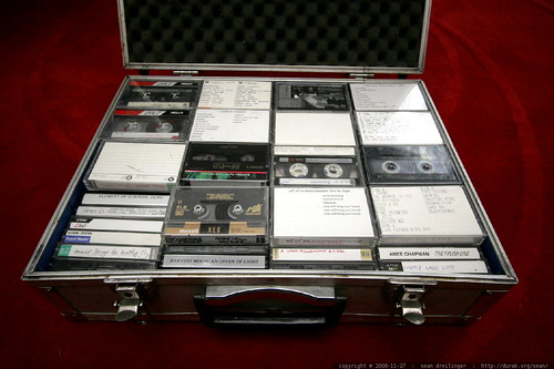 a box full of tapes of original music & performances from high school and college    MG 0155