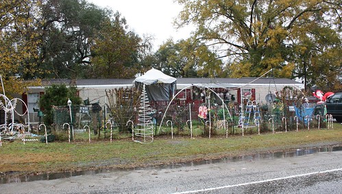 Christmas decorations in mobile home yard