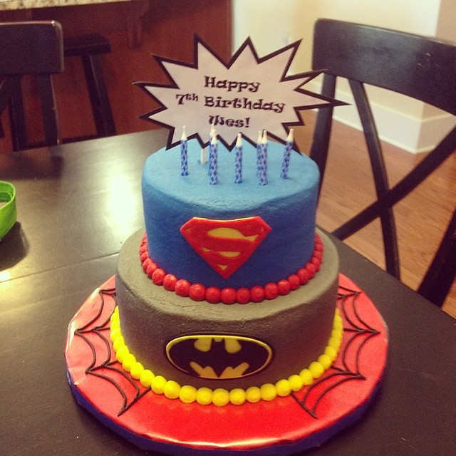 By Superhero Cake For The 7 Year Old Birthday Boy Happy Wes