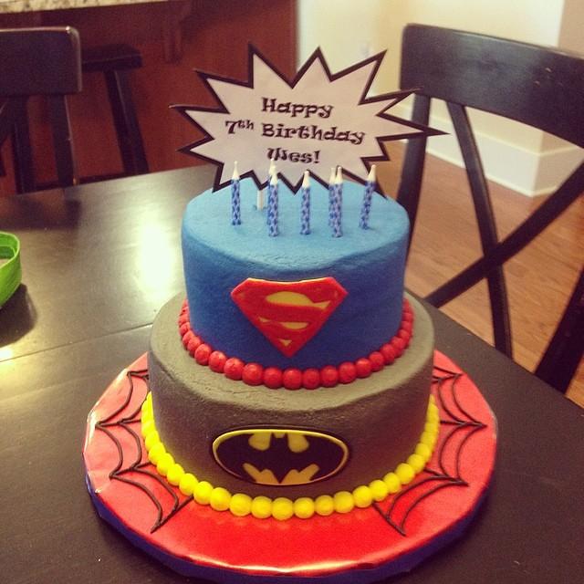 Superhero cake for the 7 year old birthday boy. Happy birthday Wes ...
