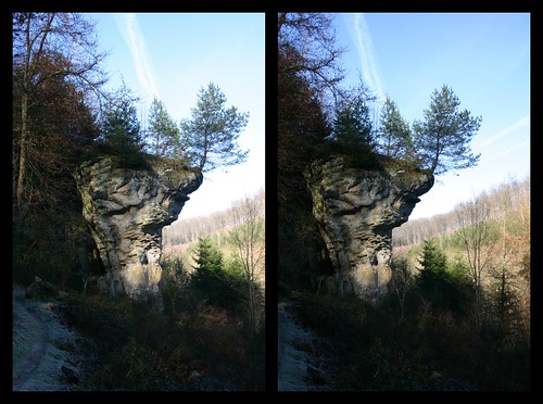 rock stereoscopic stereophotography 3d crosseyed stereopair luxembourg luxemburg stereographic larochette