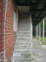 the abandoned railway station: the stairwell to the second floor balcony