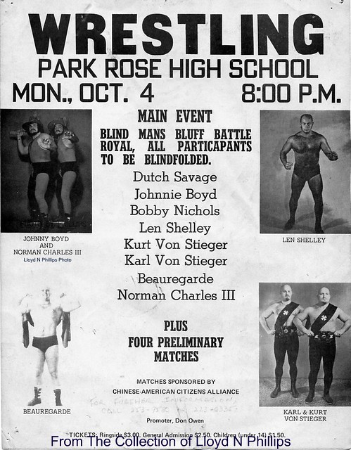 early 70s portland wrestling poster  do wrestlers even do benefits anymore  sadly  the beauregarde photo