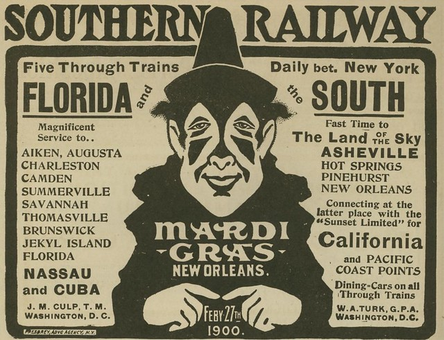 Southern Railway Mardi Gras advertisement from 1900