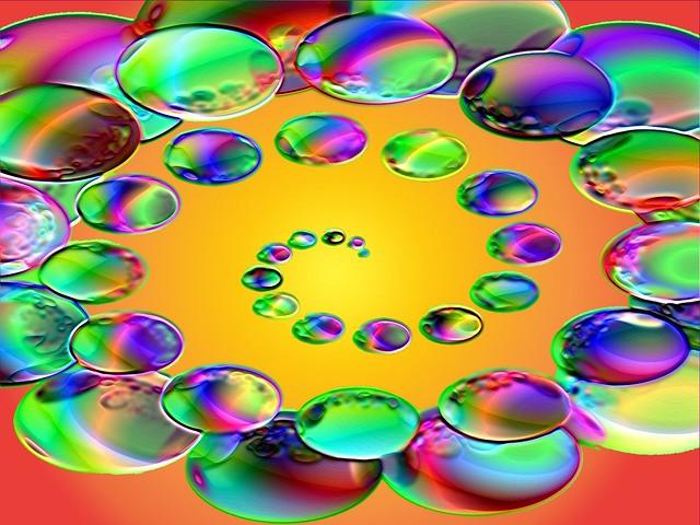 Spiral of glowing balls