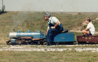 "The 7 and 1/2"" guage live steam miniature railroad. The Hesston Steam Museum. Hesston Indiana USA. August 1984. by Eddie from Chicago"