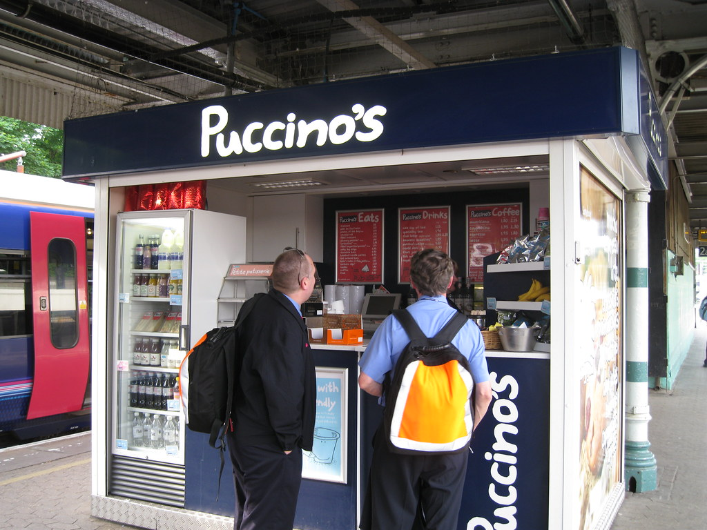 Redhill Station - Cafe Puccino's on platform We think this used to be at 65 High Street, Reigate.