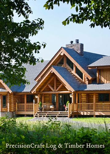 Log Home Front Elevation | Custom Log Home by PrecisionCraft Log ...
