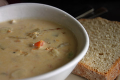 seafood chowder and crusty bread