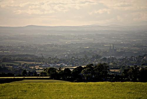Armagh City through the haze from Vicar's Carn