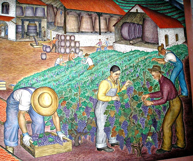 California wine country wpa mural coit tower 1934 for Coit tower mural artists