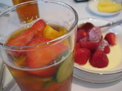 breakfast(0.0), peach melba(0.0), gelatin dessert(0.0), produce(0.0), meal(1.0), strawberry(1.0), fruit(1.0), food(1.0), dish(1.0), drink(1.0), dessert(1.0), cuisine(1.0), compote(1.0), alcoholic beverage(1.0),