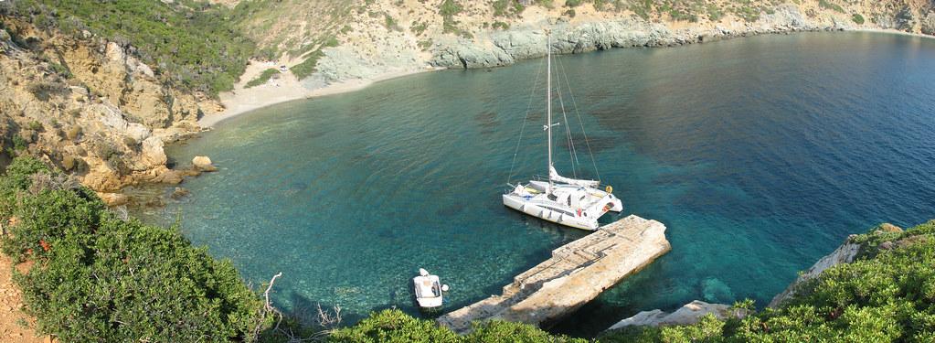 Holiday Sailing Greece Aug 2008 Kira Panagia Monastery Harbour