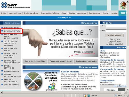 La pagina web del servicio de administracin tributaria - Oficina virtual del sae ...