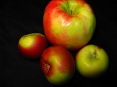 yellow, macro photography, green, produce, fruit, food, still life photography, granny smith, apple,