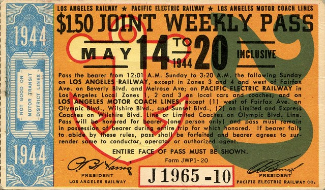 LA Transportation: Joint Weekly Pass, May 14-20, 1944