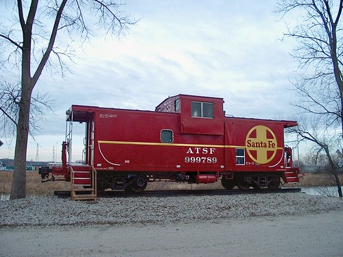 Preserved Atchinson, Topeka & Santa Fe Railroad wide vision caboose built in 1981. Hodgkins Illinois. January 2007. by Eddie from Chicago