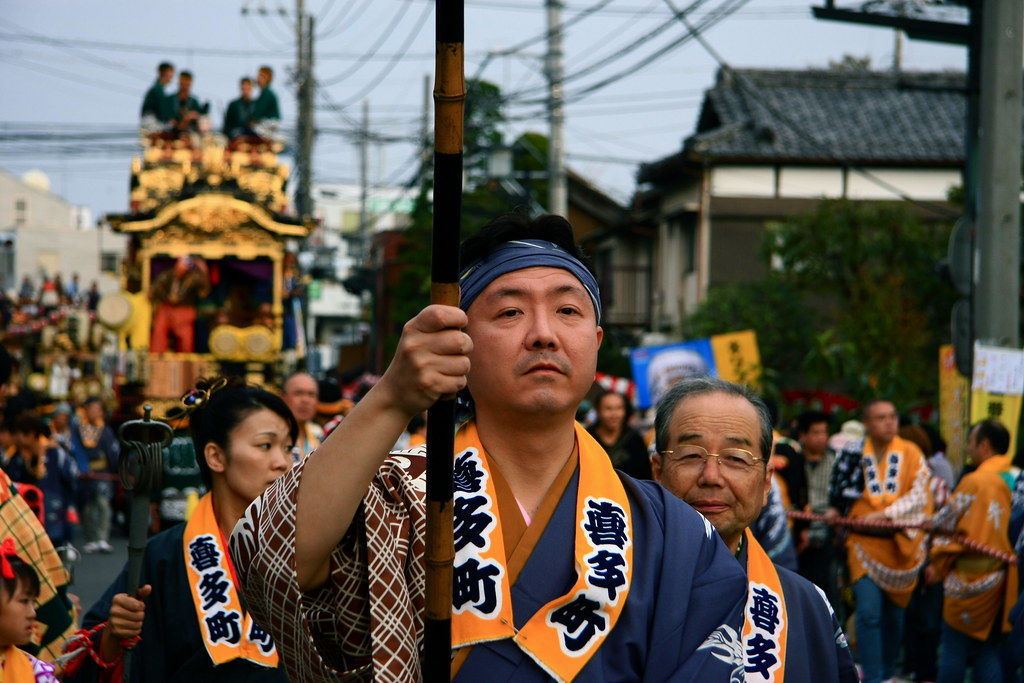 Participants Of A Parade At  Kawagoe Festival