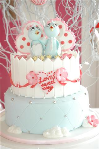 wedding cake with love birds cakestar wedding cake birds amp hearts flickr photo 26923