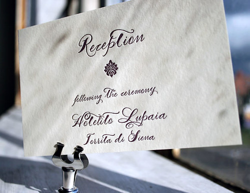 Calligraphy letterpress wedding reception card - Haddington design, by Smock