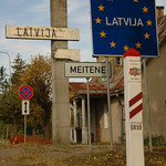 Latvia Border Sign