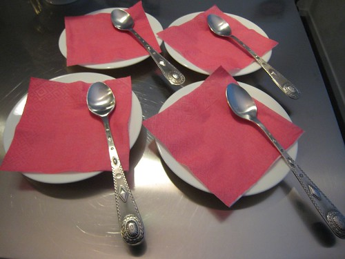 iced teaspoons, pink napkins IMG_7547
