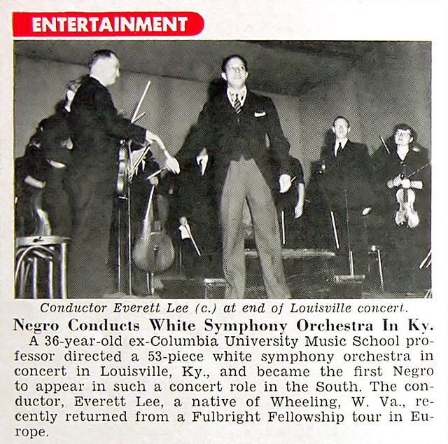 Everett Lee Conducts White Symphony Orchestra in Kentucky - Jet Magazine, October 1, 1953